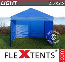 Pop up Canopy FleXtents Light 2.5x2.5 m Blue, incl. 4 sidewalls