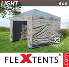 Pop up Canopy FleXtents Light 3x3 m Grey, incl. 4 sidewalls