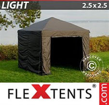 Pop up Canopy FleXtents Light 2.5x2.5 m Black, incl. 4 sidewalls