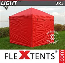 Pop up Canopy FleXtents Light 3x3 m Red, incl. 4 sidewalls