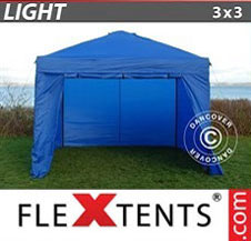 Pop up Canopy FleXtents Light 3x3 m Blue, incl. 4 sidewalls