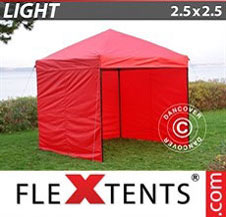 Pop up Canopy FleXtents Light 2.5x2.5 m Red, incl. 4 sidewalls