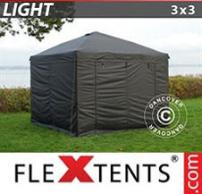 Pop up Canopy FleXtents Light 3x3 m Black, incl. 4 sidewalls