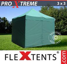 Pop up Canopy FleXtents Pro Xtreme 3x3 m Green, incl. 4 sidewalls