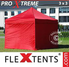 Pop up Canopy FleXtents Pro Xtreme 3x3 m Red, incl. 4 sidewalls