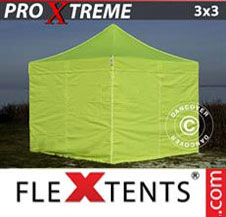 Pop up Canopy FleXtents Pro Xtreme 3x3 m Neon yellow/green, incl. 4 sidewalls