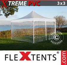 Pop up Canopy FleXtents Pro Xtreme 3x3 m Clear, incl. 4 sidewalls