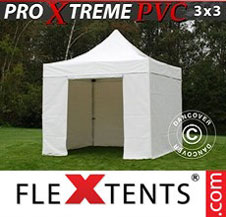 Pop up Canopy FleXtents Pro Xtreme Heavy Duty 3x3 m White, Incl. 4 sidewalls
