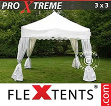 "Pop up Canopy FleXtents Pro Xtreme ""Wave"" 3x3m White, incl. 4 decorative curtains"
