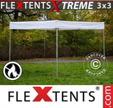 Pop up Canopy FleXtents Pro Xtreme 3x3 m, White, Flame Retardant