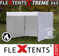 Pop up Canopy FleXtents Pro Xtreme w/sidewalls, 3x3 m, White, Flame...