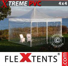 Pop up Canopy FleXtents Pro Xtreme 4x4 m Clear, incl. 4 sidewalls