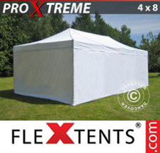 Pop up Canopy FleXtents Pro Xtreme 4x8 m White, incl. 6 sidewalls