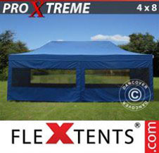 Pop up Canopy FleXtents Pro Xtreme 4x8 m Blue, incl. 6 sidewalls