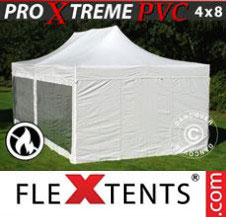 Pop up Canopy FleXtents Pro Xtreme Heavy Duty 4x8 m White, incl. 6 sidewalls