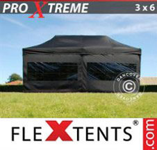 Pop up Canopy FleXtents Pro Xtreme 3x6 m Black, incl. 6 sidewalls