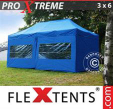 Pop up Canopy FleXtents Pro Xtreme 3x6 m Blue, incl. 6 sidewalls