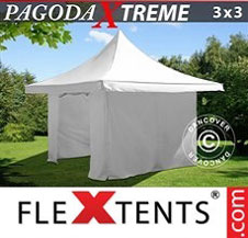 Pop up Canopy FleXtents Pro Xtreme 3x3 m / (4x4 m) White, incl. 4 sidewalls