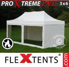 Pop up Canopy FleXtents Pro Xtreme Heavy Duty 3x6 m White, incl. 6 sidewalls