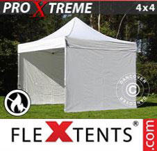 Pop up Canopy FleXtents Pro Xtreme 4x4 m White, Flame retardant, incl. 4 sidewalls