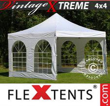 Pop up Canopy FleXtents Pro Xtreme Vintage Style 4x4 m White, incl. 4 sidewalls
