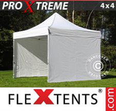 Pop up Canopy FleXtents Pro Xtreme 4x4 m White, incl. 4 sidewalls