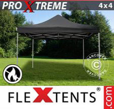 Pop up Canopy FleXtents Pro Xtreme 4x4 m Black, Flame retardant