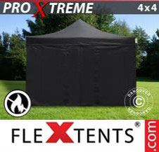 Pop up Canopy FleXtents Pro Xtreme 4x4 m Black, Flame retardant, incl. 4 sidewalls