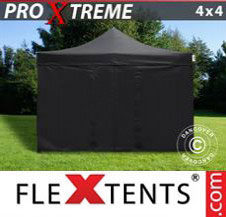 Pop up Canopy FleXtents Pro Xtreme 4x4 m Black, incl. 4 sidewalls