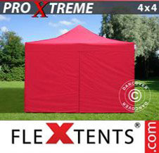 Pop up Canopy FleXtents Pro Xtreme 4x4 m Red, incl. 4 sidewalls