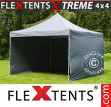 Pop up Canopy FleXtents Pro Xtreme 4x4 m Grey, incl. 4 sidewalls