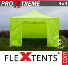 Pop up Canopy FleXtents Pro Xtreme 4x4 m Neon yellow/green, incl. 4 sidewalls