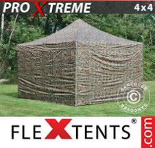 Pop up Canopy FleXtents Pro Xtreme 4x4 m Camouflage/Military, incl. 4 sidewalls