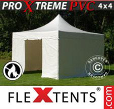 Pop up Canopy FleXtents Pro Xtreme Heavy Duty 4x4 m White, Incl. 4 sidewalls