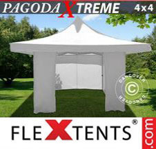 Pop up Canopy FleXtents Pro Xtreme 4x4 m / (5x5 m) White, incl. 4 sidewalls
