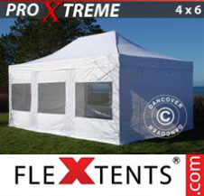 Pop up Canopy FleXtents Pro Xtreme 4x6 m White, incl. 8 sidewalls