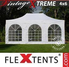 Pop up Canopy FleXtents Pro Xtreme Vintage Style 4x6 m White, incl. 8 sidewalls