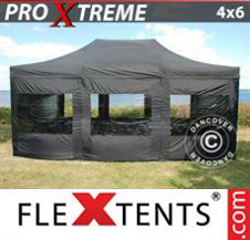 Pop up Canopy FleXtents Pro Xtreme 4x6 m Black, incl. 8 sidewalls