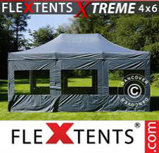 Pop up Canopy FleXtents Pro Xtreme 4x6 m Grey, incl. 8 sidewalls