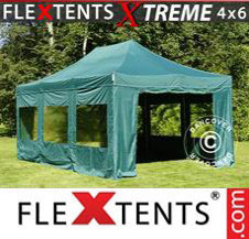 Pop up Canopy FleXtents Pro Xtreme 4x6 m Green, incl. 8 sidewalls