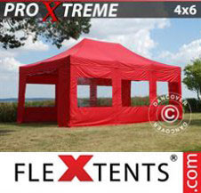 Pop up Canopy FleXtents Pro Xtreme 4x6 m Red, incl. 8 sidewalls