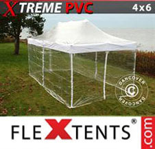 Pop up Canopy FleXtents Pro Xtreme 4x6 m Clear, incl. 8 sidewalls