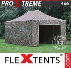 Pop up Canopy FleXtents Pro Xtreme 4x6 m Camouflage/Military, incl. 8 sidewalls