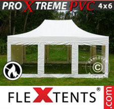 Pop up Canopy FleXtents Pro Xtreme Heavy Duty 4x6 m White, incl. 8 sidewalls
