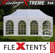Pop up Canopy FleXtents Pro Xtreme Vintage Style 3x6 m White, incl. 6 sidewalls