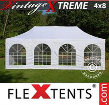 Pop up Canopy FleXtents Pro Xtreme Vintage Style 4x8 m White, incl. 6 sidewalls