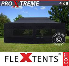 Pop up Canopy FleXtents Pro Xtreme 4x8 m Black, incl. 6 sidewalls