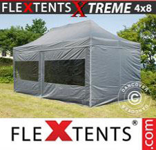 Pop up Canopy FleXtents Pro Xtreme 4x8 m Grey, incl. 6 sidewalls