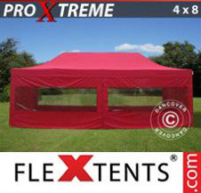 Pop up Canopy FleXtents Pro Xtreme 4x8 m Red, incl. 6 sidewalls