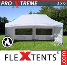 Pop up Canopy FleXtents Pro Xtreme 3x6 m White, Flame retardant, incl. 6 sidewalls